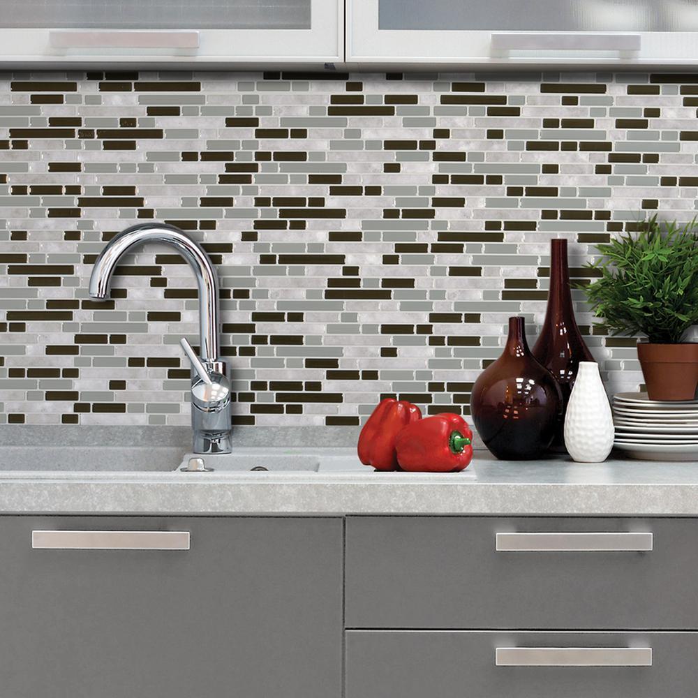 Bellagio Grigio 10.06 in.W x 10.00 in. H Peel and Stick Decorative Mosaic Wall Tile Backsplash (6-Pack)