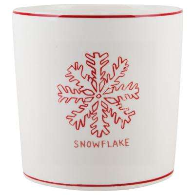 7 in. D White Snowflake Round Utensil Crock
