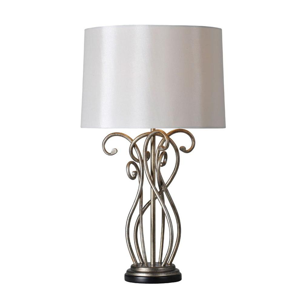 Illumine Luna 25 in. Silver Leaf Incandescent Table Lamp