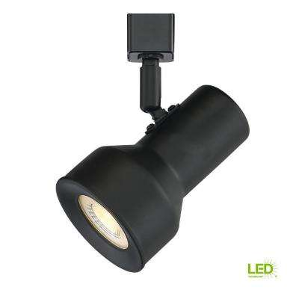 Medium Solid Black Step Cylinder Integrated LED Track Lighting Head