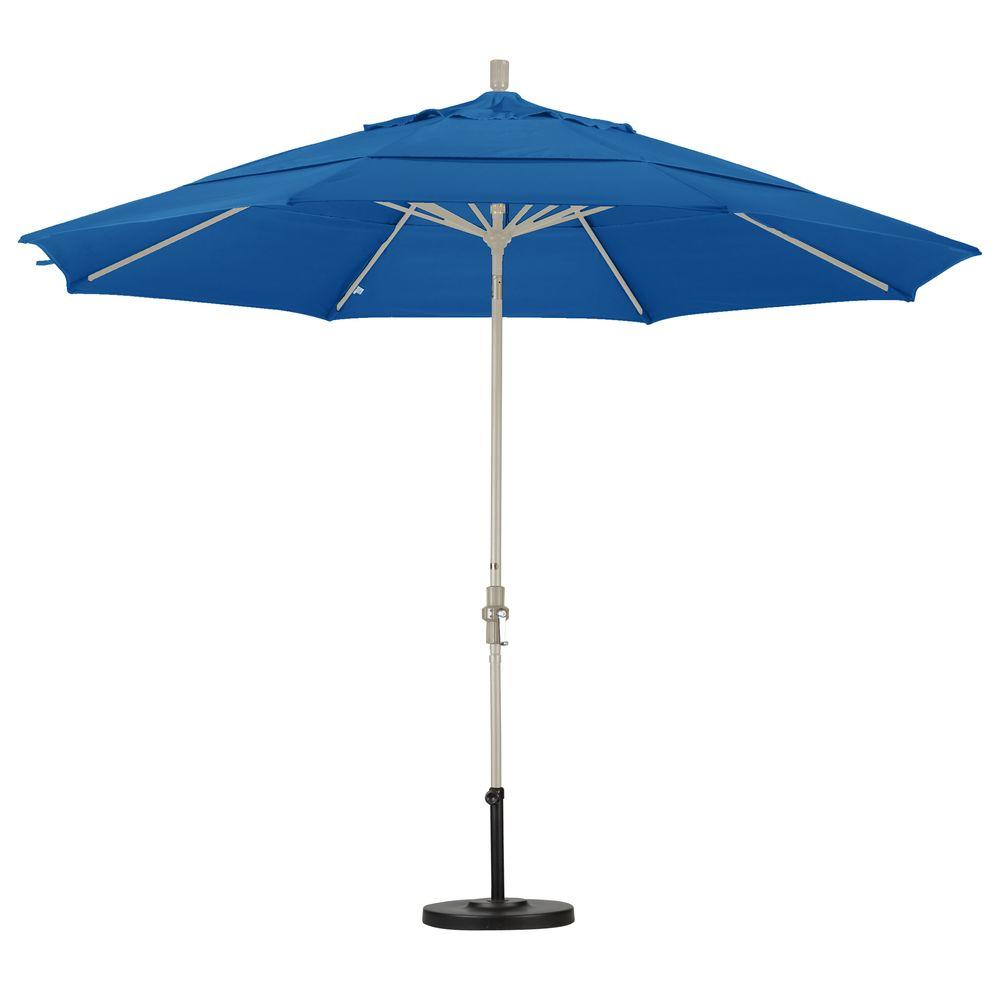 California Umbrella 11 ft. Aluminum Collar Tilt Double Vented Patio Umbrella in Pacific Blue Pacifica
