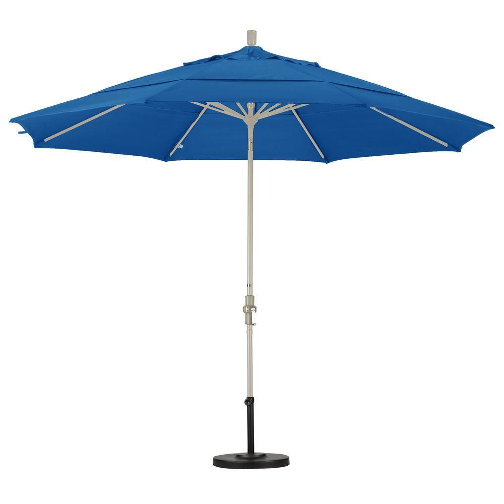 11 ft. Aluminum Collar Tilt Double Vented Patio Umbrella in Pacific Blue Pacifica