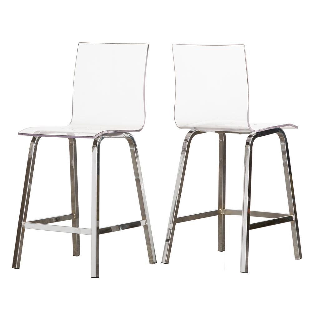 Awesome Homesullivan Penny 24 In Chrome Swivel Bar Stool Set Of 2 Inzonedesignstudio Interior Chair Design Inzonedesignstudiocom