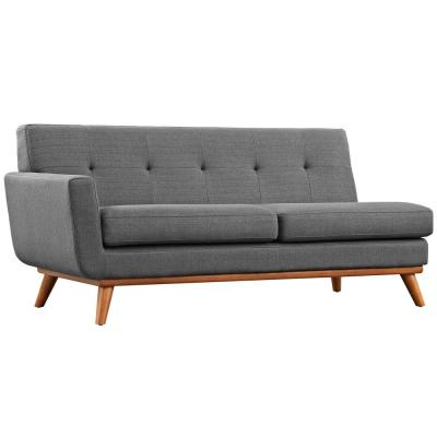 Engage 73 in. Gray Polyester 2-Seater Left-Facing Loveseat with Wood Legs