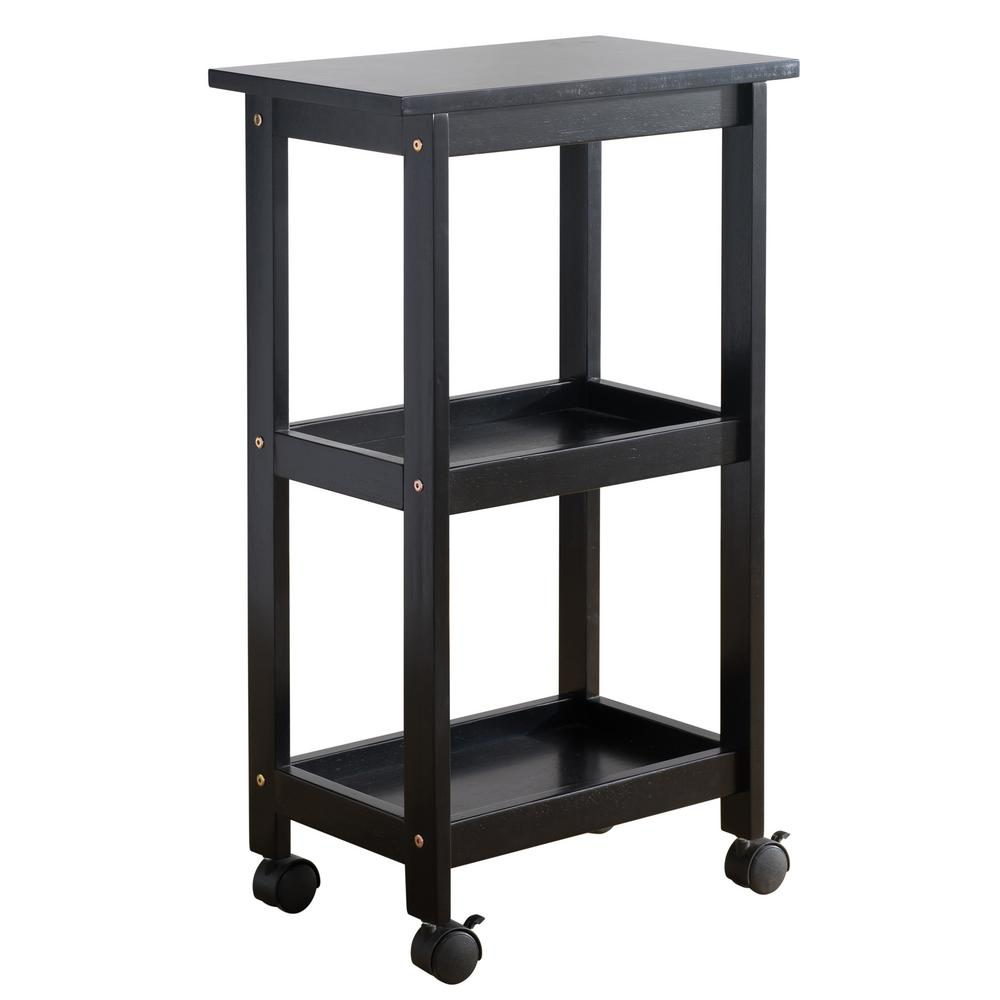 West End Black Kitchen Cart, Glossy Black The West End Kitchen Cart is the idyllic piece of furniture that your kitchen craves for. This solid hardwood shelving trolley is composed of three firm and well-structured racks to help ease your kitchen stowing dilemma. The top tier rack easily accommodates large kitchen appliances or apparatus to help aid in your cooking or baking needs. You can utilize the last 2-ledges for storing supermarket items, kitchen tools or just some pantry knick-knacks. The black varnished finish of the West End Kitchen Cart enhances your kitchen space to give a modern and compact feel, seamlessly fitting into most kitchen interior styles. With its easy assembly features, this movable storage trolley helps you to de-clutter your kitchen in a speedy and fashionable way. Color: Glossy Black.