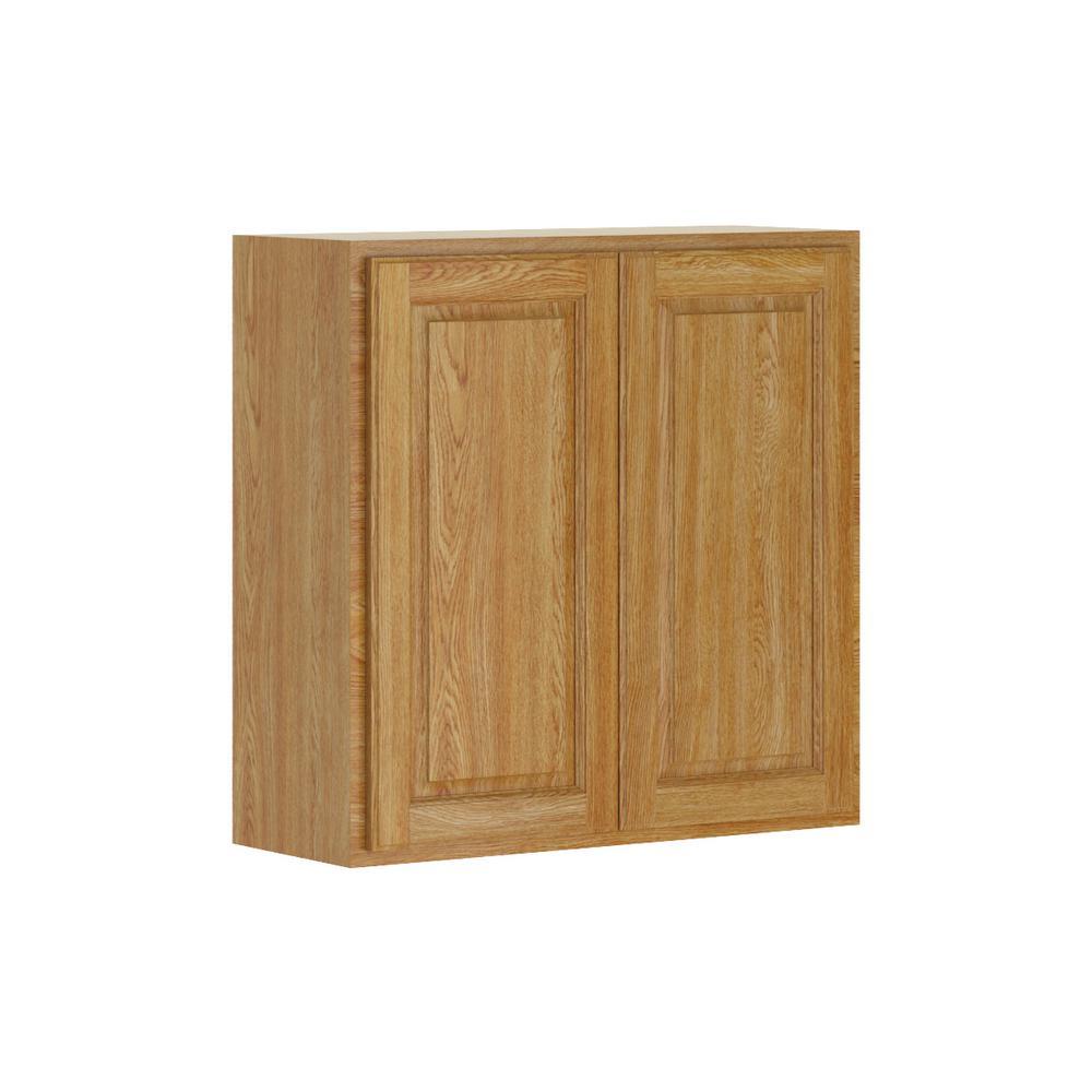 Madison Assembled 30x30x12 in. Wall Cabinet in Medium Oak