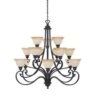 Monte Carlo 15-Light Hanging Natural Iron Chandelier