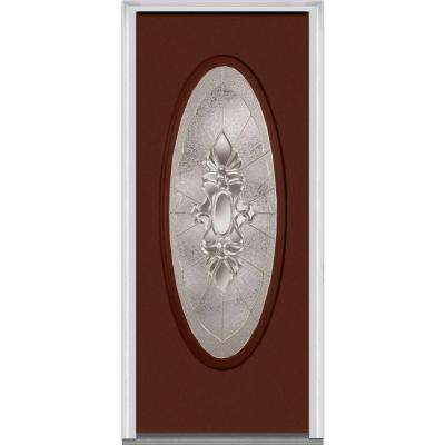 30 in. x 80 in. Heirloom Master Left-Hand Large Oval Lite Decorative Painted Fiberglass Smooth Prehung Front Door