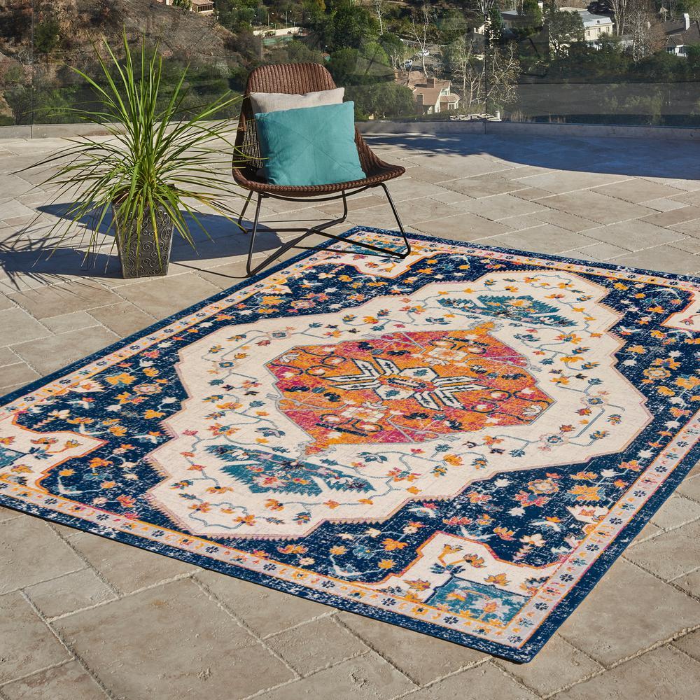 Vinca Clora Blue 7 ft. x 10 ft. Global Indoor/Outdoor Area Rug