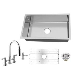 All-in-One Undermount 18-Gauge Stainless Steel 31 in. 0-Hole Single Bowl Kitchen Sink with Bridge Kitchen Faucet