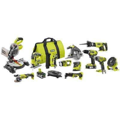 18-Volt ONE+ Lithium-Ion Cordless 12-Tool Combo Kit with (1) 4.0 Ah Battery, (1) 1.5 Ah Battery, 18-Volt Charger and Bag