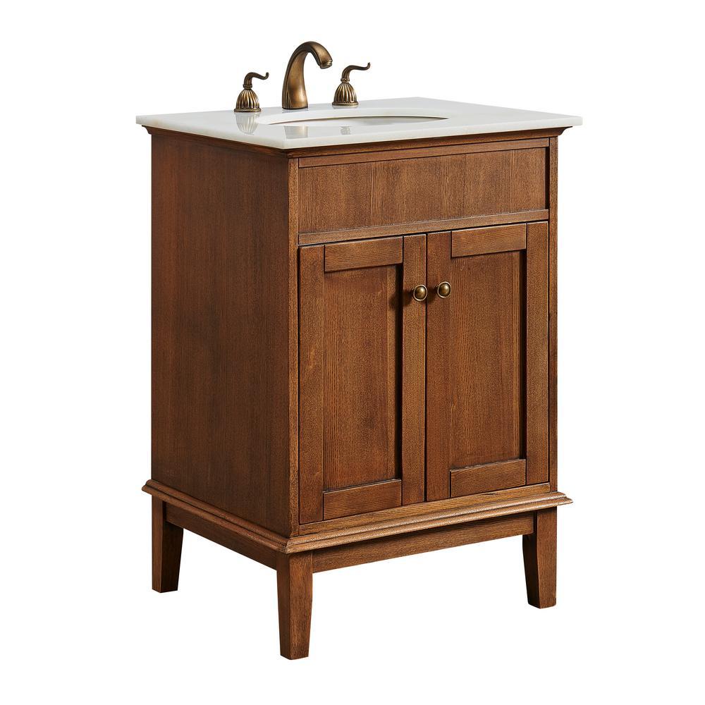 Pleasing Victor 24 In Single Bathroom Vanity With 1 Shelf 2 Doors Marble Top Porcelain Sink In Chestnut Wood Finish Download Free Architecture Designs Rallybritishbridgeorg