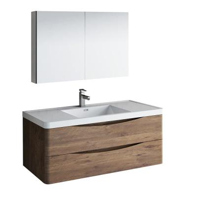Tuscany 48 in. Modern Wall Hung Bath Vanity in Rosewood with Vanity Top in White with White Basin and Medicine Cabinet