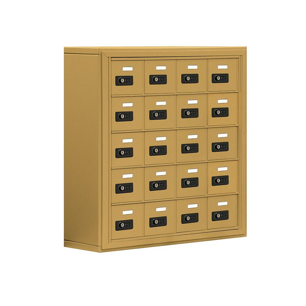 Salsbury Industries 19000 Series 30.5 in. W x 31 in. H x 9.25 in. D 20 A Doors S-Mount Resettable Locks Cell Phone Locker in Gold