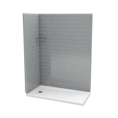 Utile Metro 32 in. x 60 in. x 83.5 in. Corner Shower Stall in Ash Grey with Left Drain Base in White
