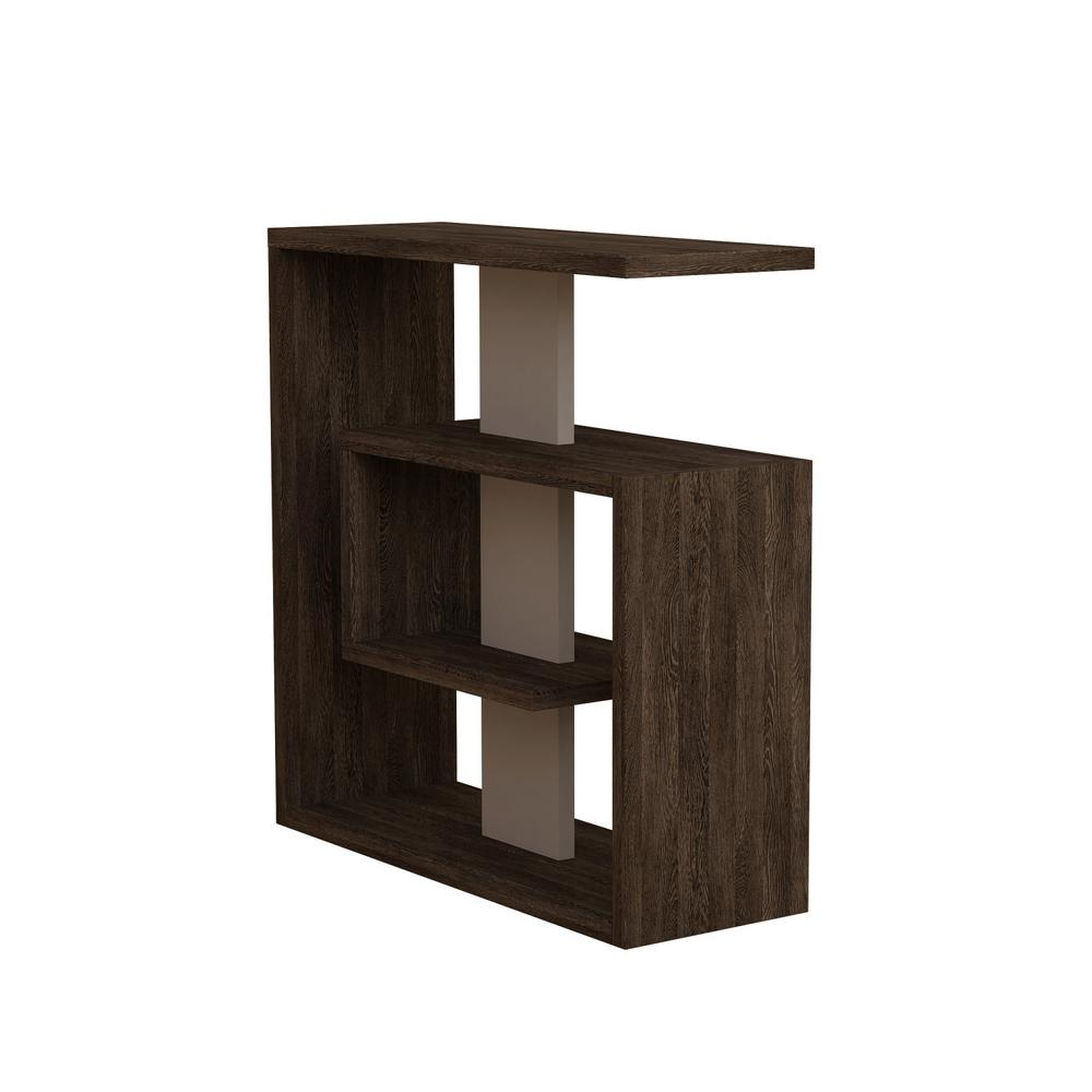 Stacy Dark Brown and Light Mocha Modern Side Table