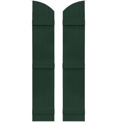 14 in. x 73 in. Board-N-Batten Shutters Pair, 4 Boards Joined with Arch Top #122 Midnight Green