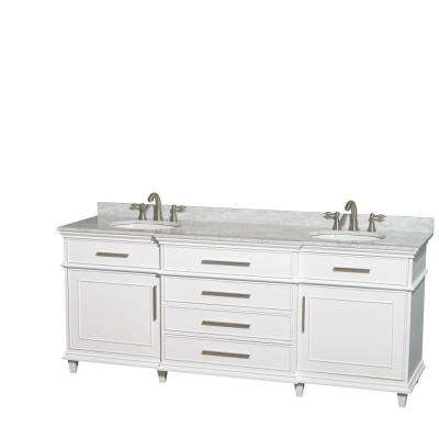 Berkeley 80 in. Double Vanity in White with Marble Vanity Top in Carrara White and Oval Basin