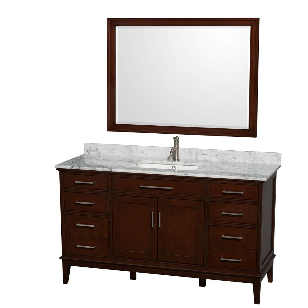 Wyndham Collection Hatton 60 in. Vanity in Dark Chestnut with Marble Vanity Top in Carrara White, Square Sink and 44 in. Mirror