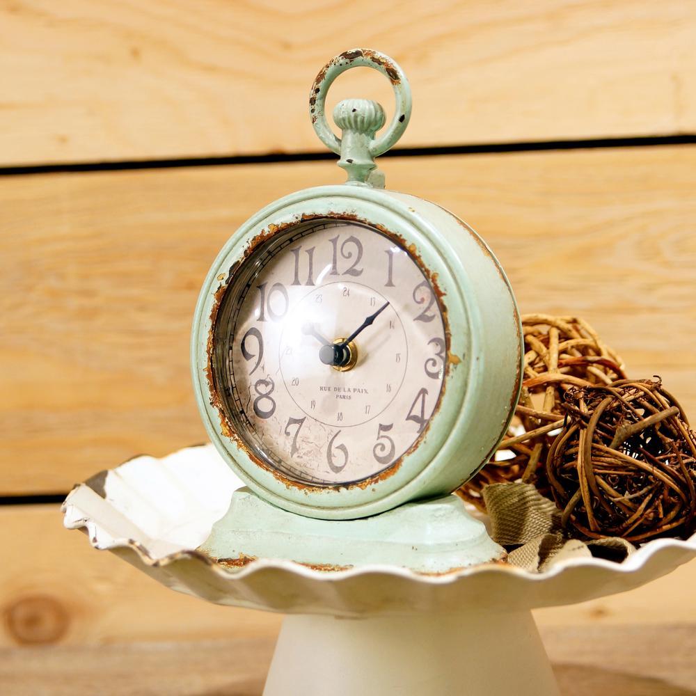 Metal Green Table Clock