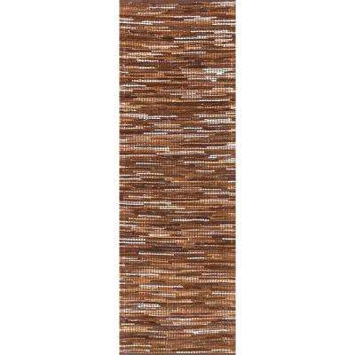 Linares Abstract Light Brown 3 ft. x 8 ft. Runner