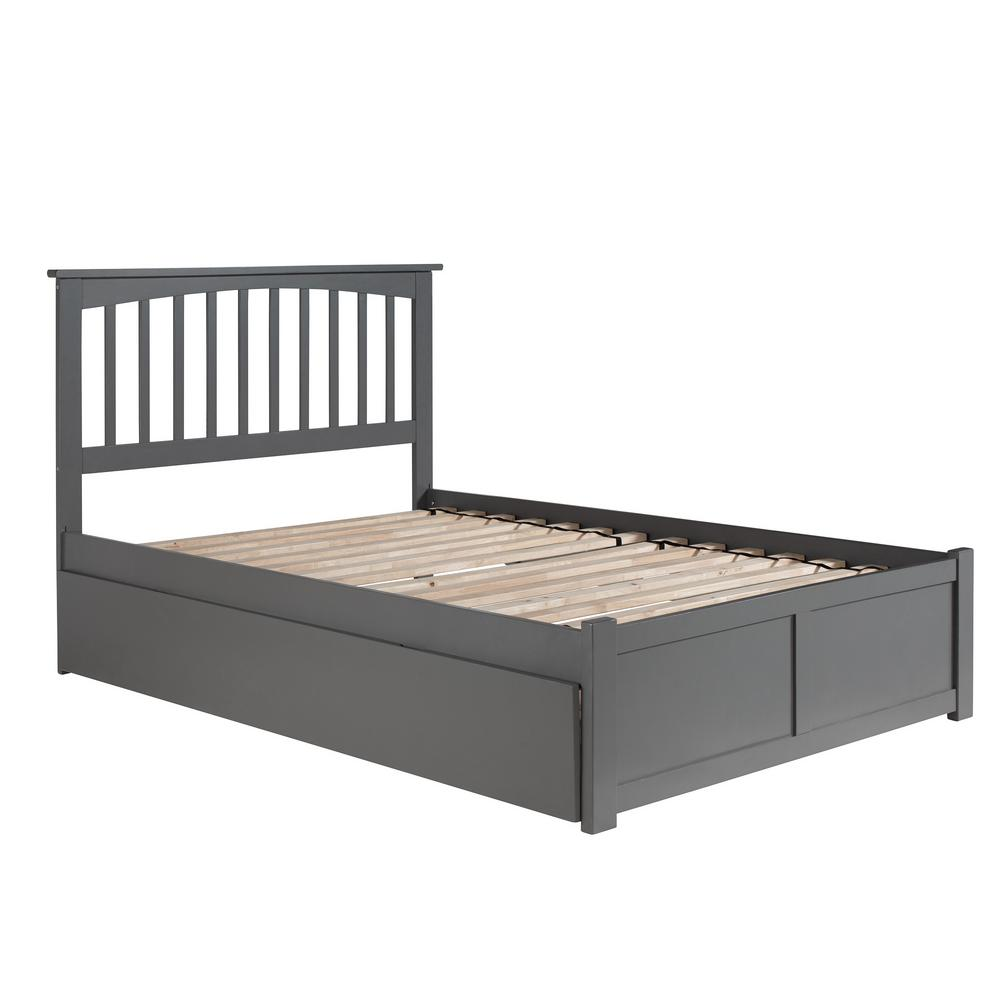 Mission Full Platform Bed with Flat Panel Foot Board and Twin