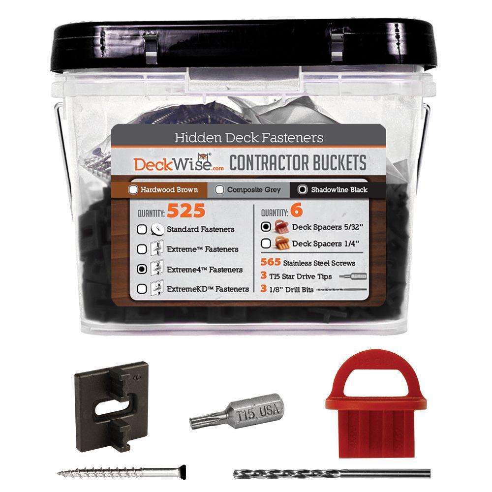 Extreme4 Ipe Clip Black Biscuit Style Hidden Deck Fastener Kit for Hardwoods (525-Bucket)