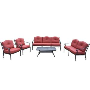5-Piece Aluminum Deep Seat Chat Set with Sofa, Loveseat, 2 Club Chairs, Polyester Cushions and Cocktail Table by