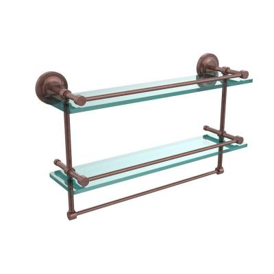 22 in. L  x 12 in. H  x 5 in. W 2-Tier Clear Glass Bathroom Shelf with Towel Bar in Antique Copper