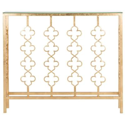 Carolina 8 in. Antique Gold Leaf Standard Rectangle Glass Console Table