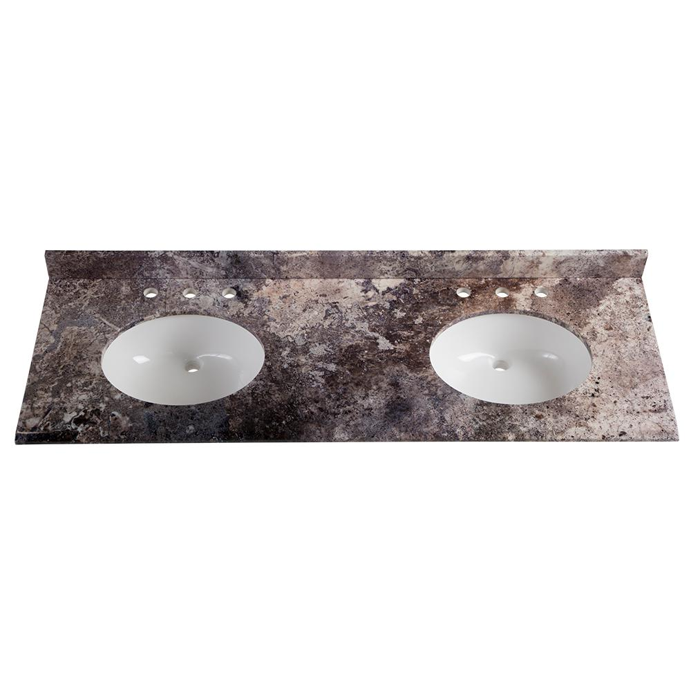 61 in. W x 22 in. D Stone Effects Double Vanity