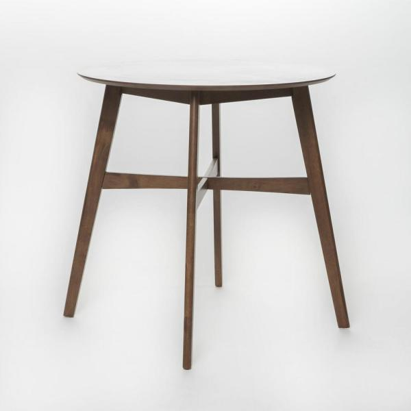 Natural Walnut Brown Round Wooden Counter Height Table