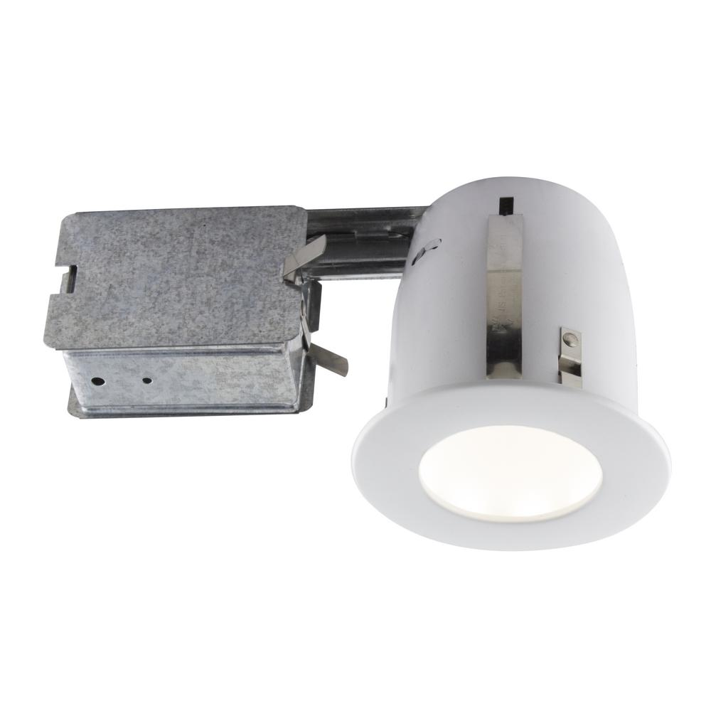 Led Carport Lighting Products Display Current By Ge: 4-in. Matte White Intergrated LED Recessed Fixture Kit