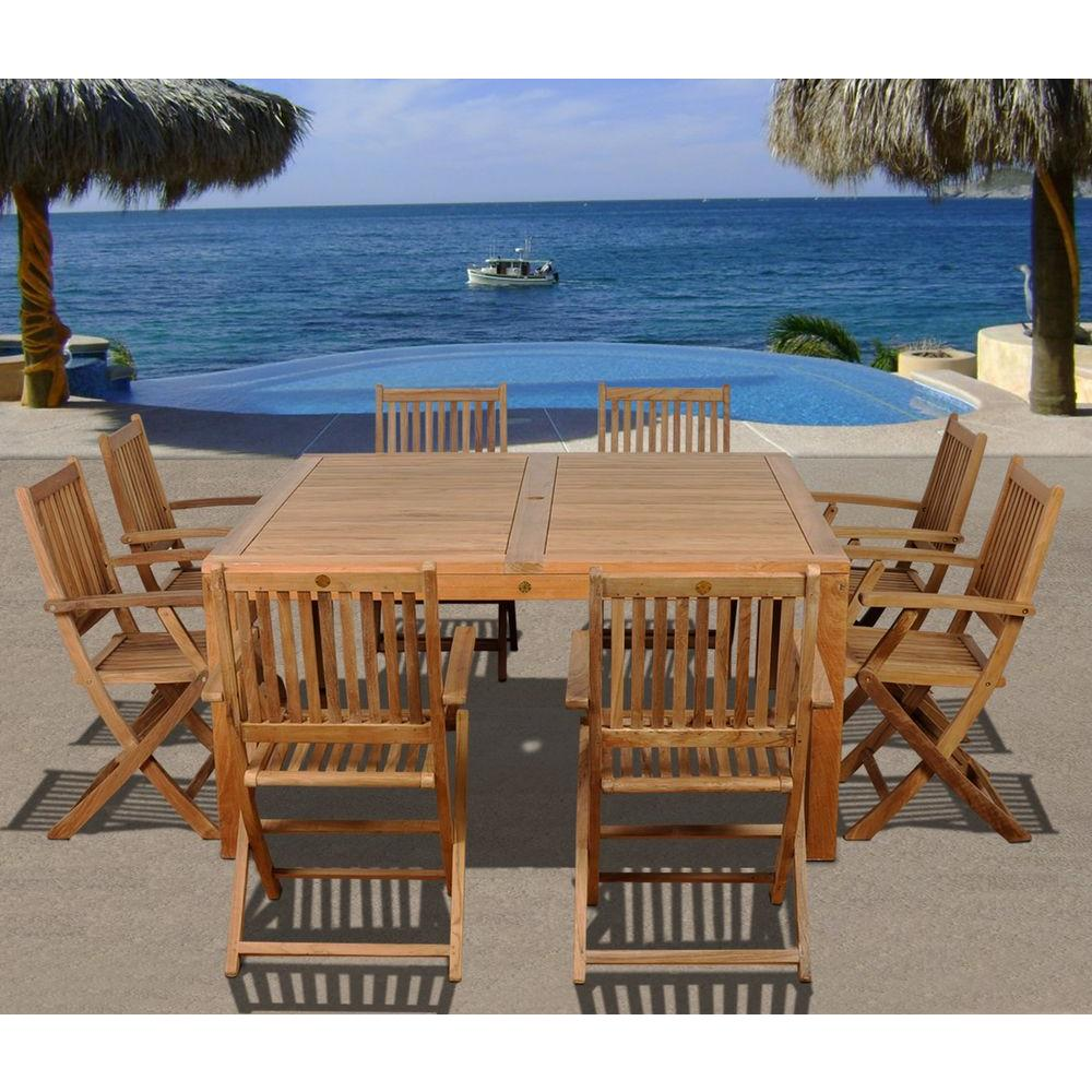 Amazonia Dubai Square 9-Piece Teak Patio Dining Set