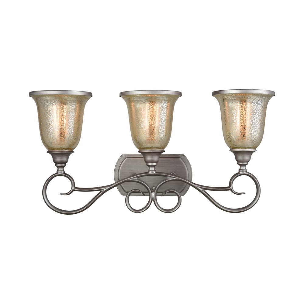Georgetown 3-Light Weathered Zinc with Mercury Glass Bath Light
