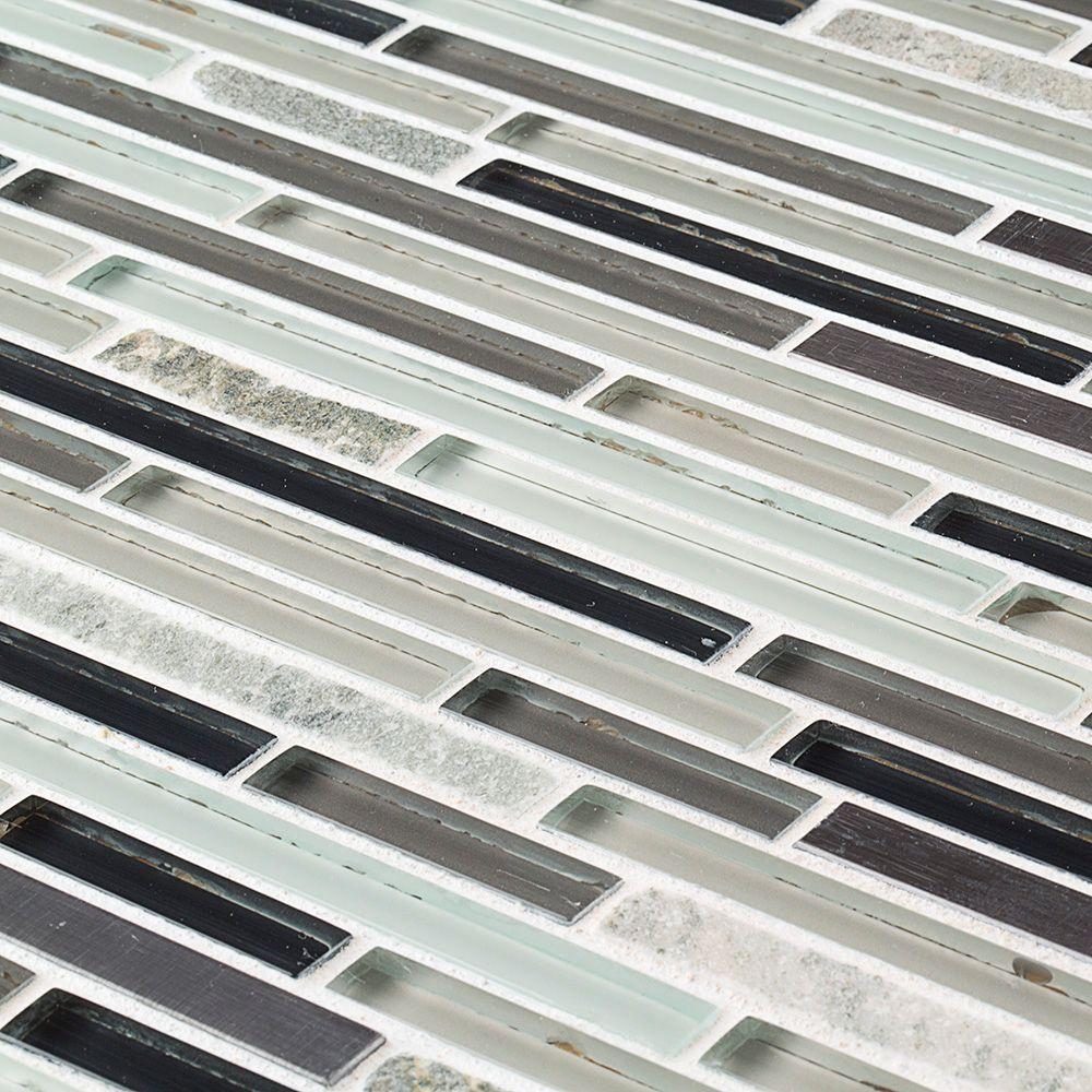 Zen Lace 11.75 in. x 13 in. x 8 mm Glass/Stone/Metal Mosaic Wall Tile