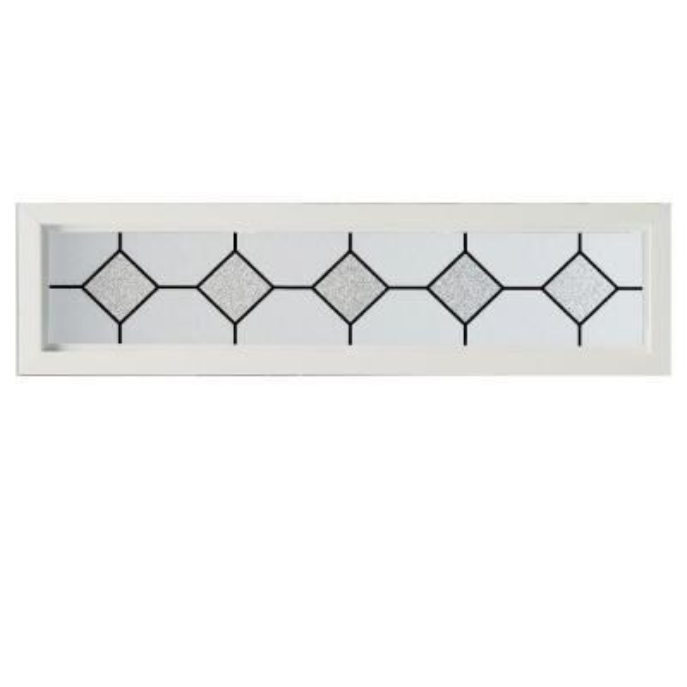47.5 in. x 11.5 in. Mission Decorative Glass Picture Vinyl Window - White