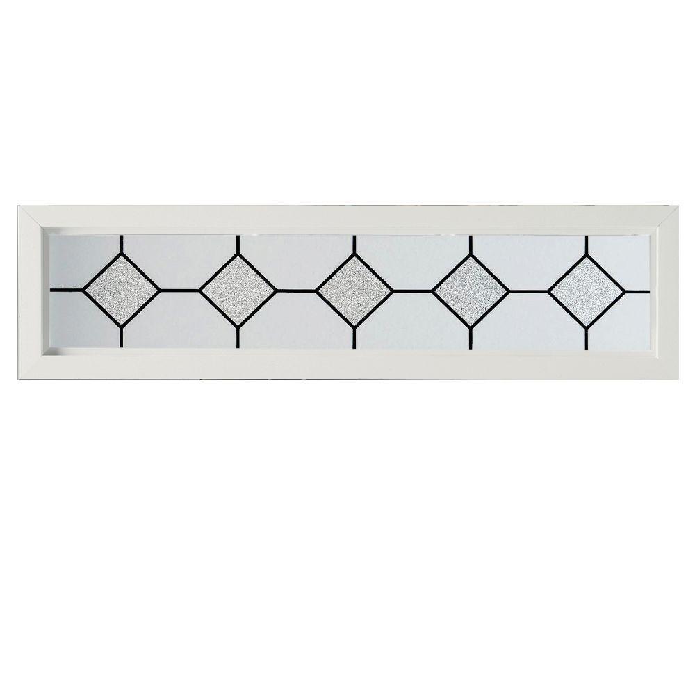 47.5 in. x 11.5 in Mission Decorative Glass Picture Vinyl Window - White