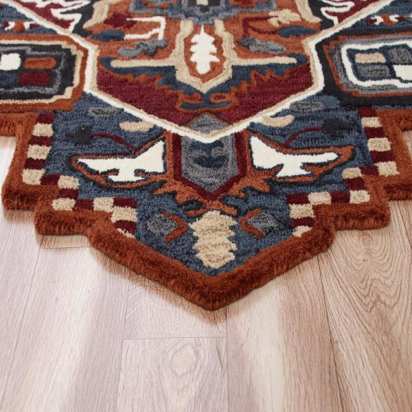 Lr Home Shapes Red Blue 7 Ft Specialty Shape Geometric Southwest Summer Cabin Medallion Area Rug Shape50924run70rd The Home Depot