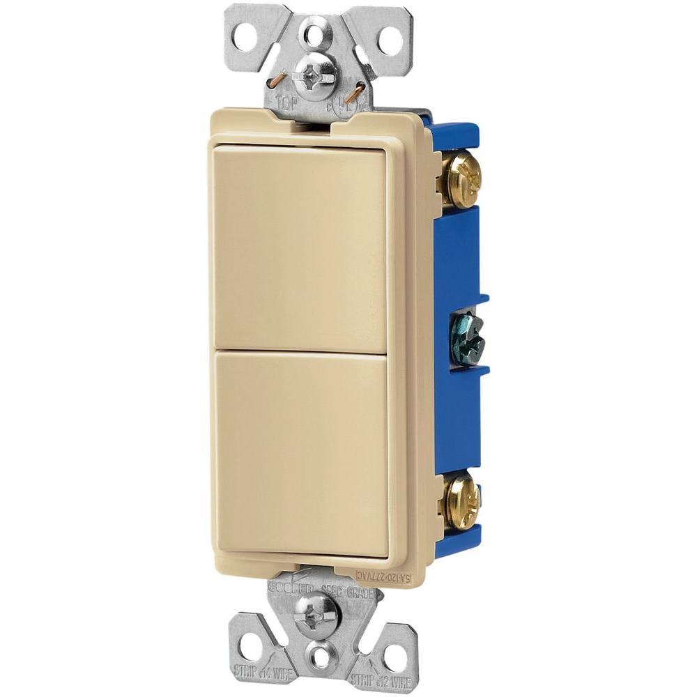 15 Amp 120-Volt 3-Way Decorator 2 Single-Pole Combination Switches, Ivory