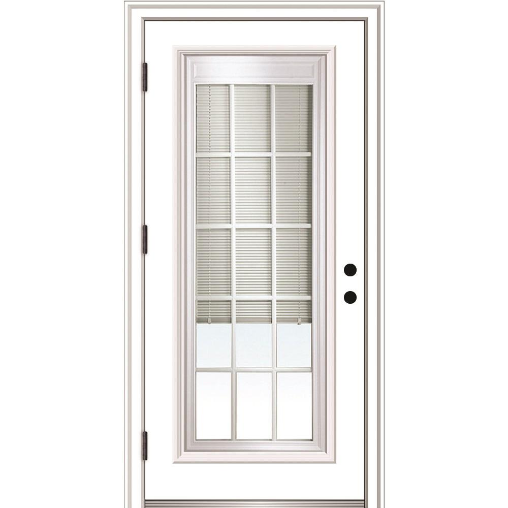 Mmi Door 36 In X 80 In Internal Blinds And Grilles Right Hand Outswing Full Lite Clear Primed Steel Prehung Front Door Z0364953r The Home Depot