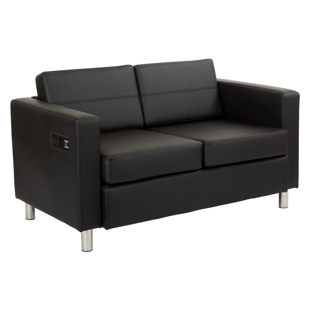 OSP Home Furnishings Atlantic Dillon Black Fabric Loveseat with Dual Charging Station OSP Home Furnishings Atlantic Dillon Black Fabric Loveseat with Dual Charging Station