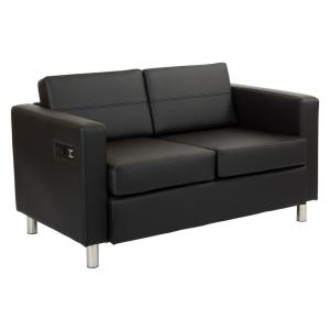 Atlantic Dillon Black Fabric Loveseat with Dual Charging Station