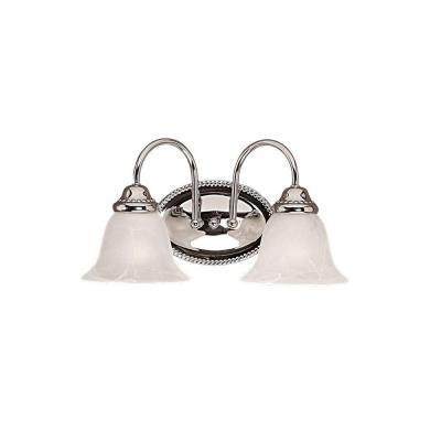 2-Light Chrome Vanity Light with Faux Alabaster Glass