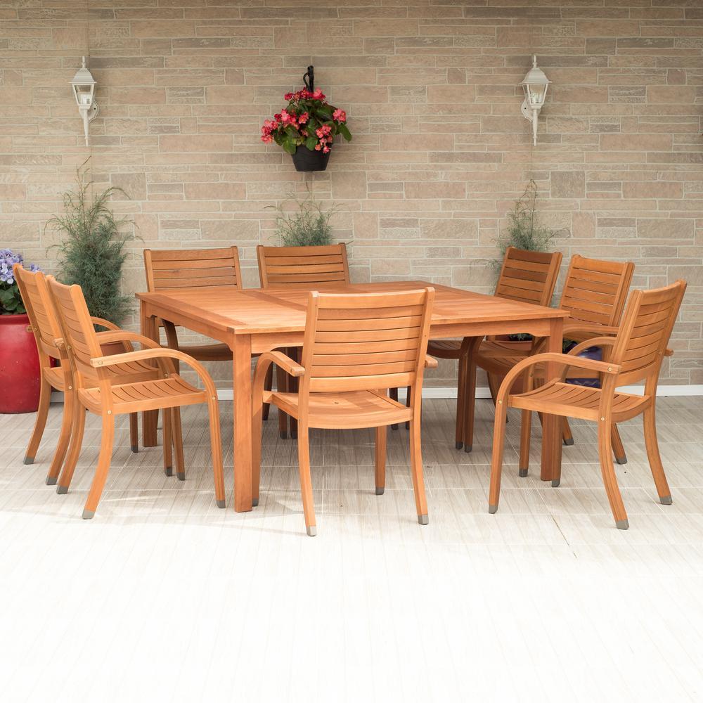 Arizona Square 9-Piece Eucalyptus Patio Dining Set