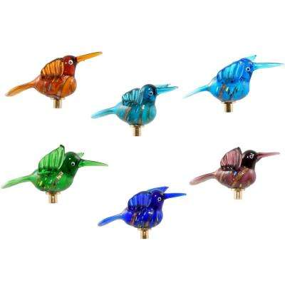 Glass Hummingbirds on Gold-Plated Iron Pot Stick (Set of 6)