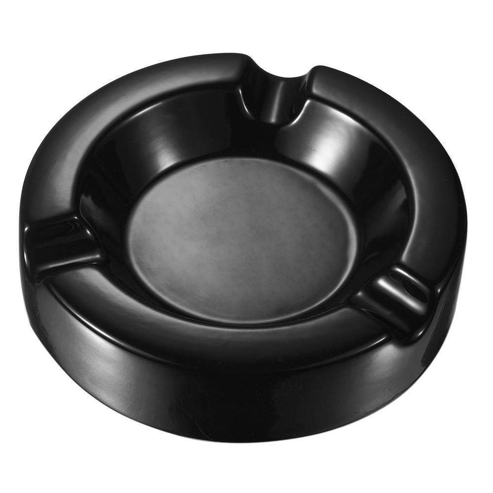 Beatrix Black Circular Ceramic Cigar Ashtray