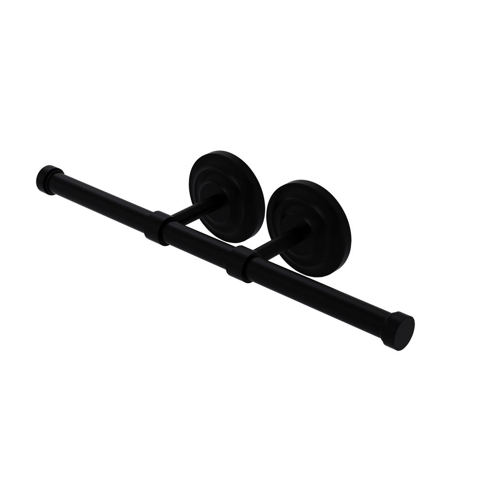 Allied Brass Que New Collection Double Post 2-Roll Toilet Paper Holder in Matte Black