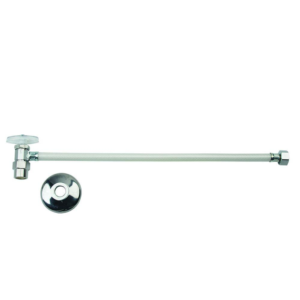 BrassCraft 1/2 in. Nominal CPVC x 1/2 in. FIP x 16 in. Multi-Turn One-Piece Vinyl Faucet Water Supply Line with Flange