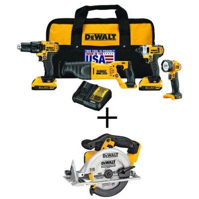 20-Volt MAX Lithium-Ion Cordless Combo Kit (4-Tool) with Bonus 20V 6-1/2 in. Li-Ion Cordless Circular Saw (Tool-Only)